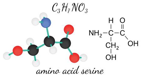 serine: C3H7NO3 serine 3d amino acid molecule isolated on white Illustration