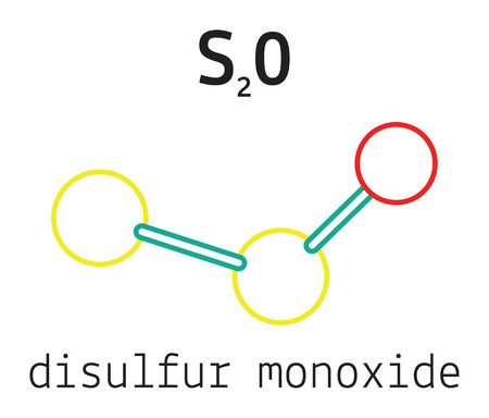 S2O disulfur monoxide 3d molecule isolated on white