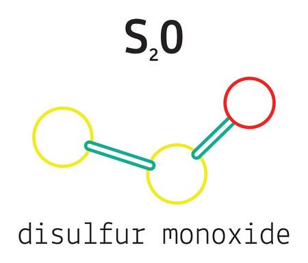 monoxide: S2O disulfur monoxide 3d molecule isolated on white