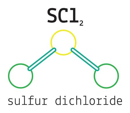 Cl2S zwaveldichloride 3d molecule die op wit Vector Illustratie