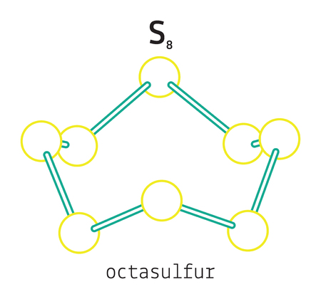 S8 octasulfur 3d molecule isolated on white