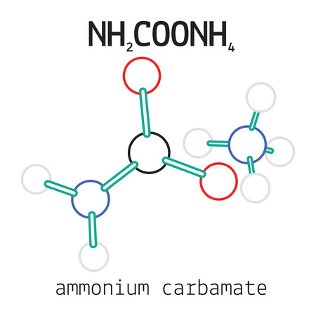 ammonium: NH2COONH4 ammonium carbamate 3d molecule isolated on white Illustration