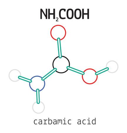3d nitrogen: NH2COOH carbamic acid 3d molecule isolated on white Illustration