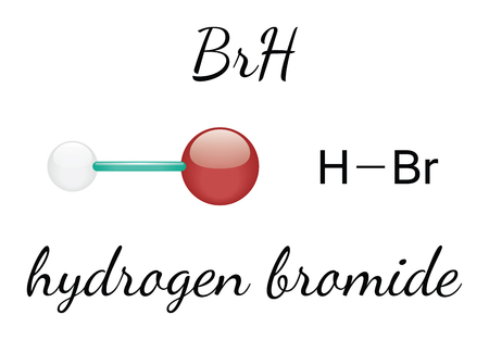 hydrogen: HBr hydrogen bromide 3d molecule isolated on white