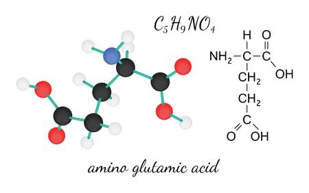 3d nitrogen: C5H9NO4 glutamic amino acid 3d molecule isolated on white