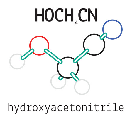 HOCH2CN hydroxyacetonitrile 3d molecule isolated on white Stock Vector - 50565412