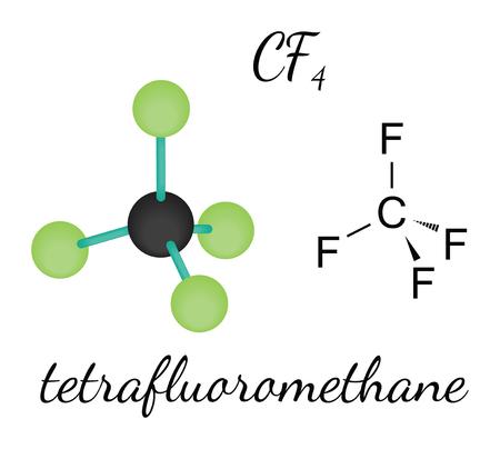 fluorine: CF4 tetrafluoromethane 3d molecule isolated on white