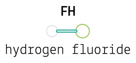 hydrogen: HF hydrogen fluoride 3d molecule isolated on white