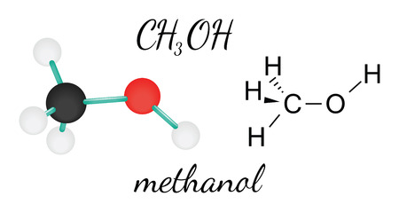 hydroxide: CH3OH methanol 3d molecule isolated on white Illustration