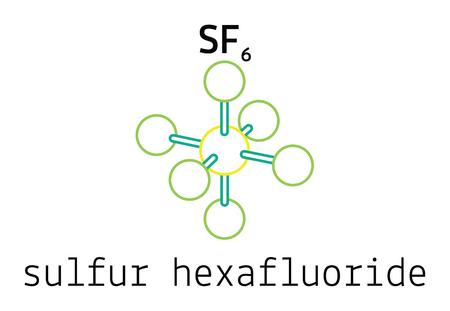 fluorine: SF6 sulfur hexafluoride 3d molecule isolated on white Illustration