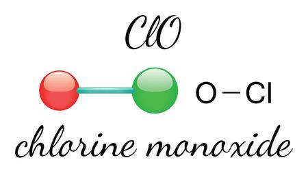monoxide: ClO chlorine monoxide 3d molecule isolated on white Illustration