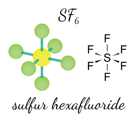 SF6 sulfur hexafluoride 3d molecule isolated on white