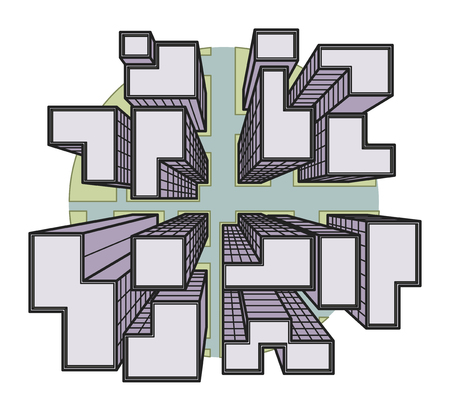 down town: Vector city view from top to down to a crossroad and skyscrapers in colored line drawing on a circle