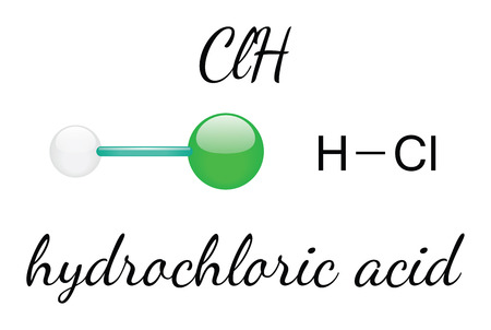 hydrochloride: HCl hydrochloric acid 3d molecule isolated on white