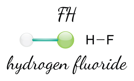 HF hydrogen fluoride 3d molecule isolated on white
