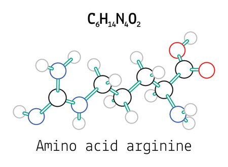 C6H14N4O2 amino acid Arginine molecule isolated on white