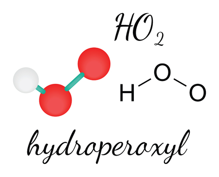 radical: HO2 hydroperoxyl radical 3d molecule isolated on white