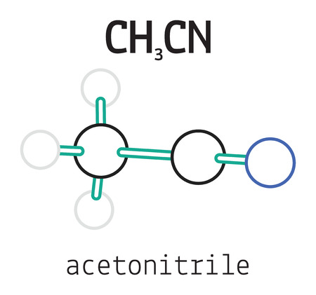 methyl: CH3CN acetonitrile 3d molecule isolated on white