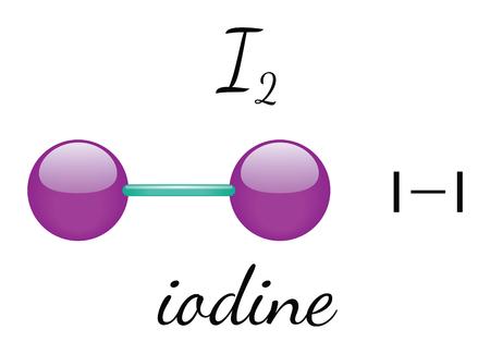 I2 iode molécule 3d isolé sur blanc