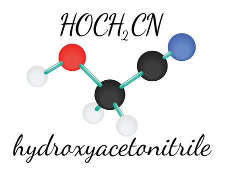 HOCH2CN hydroxyacetonitrile 3d molecule isolated on white Illustration