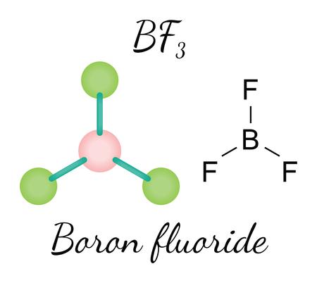 boron: BF3 boron fluoride 3d molecule isolated on white