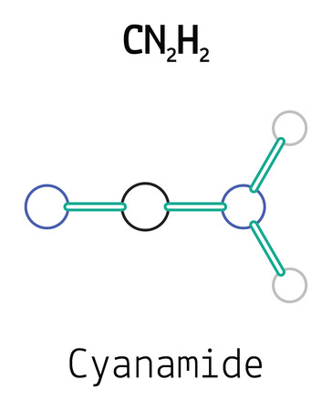 CN2H2 cyanamide 3d molecule isolated on white