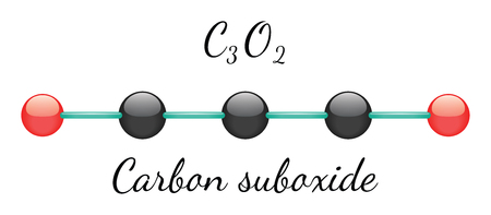 3d carbon: C3O2 carbon suboxide 3d molecule isolated on white