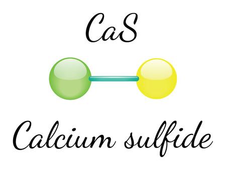 sulfide: CaS calcium sulfide 3d molecule isolated on white