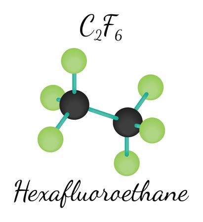 cfc: C2F6 hexafluoroethane 3d molecule isolated on white Illustration