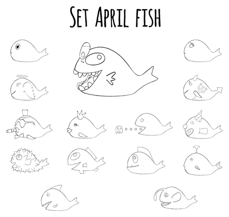 prank: Big set of april fish for fools day in France line art on white