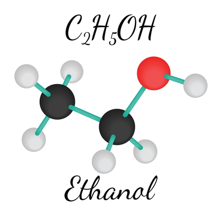 ethanol: C2H5OH ethanol 3d molecule isolated on white Illustration