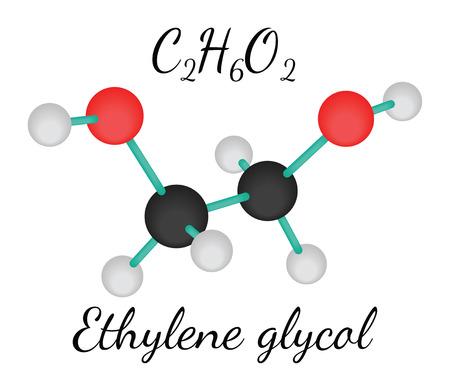 glycol: C2H6O2 ethylene glycol 3d molecule isolated on white Illustration