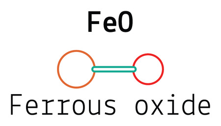oxide: FeO ferrous oxide 3d molecule isolated on white