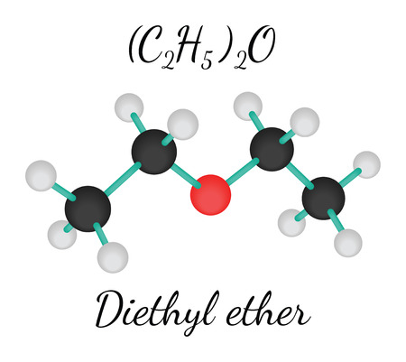 solvent: C4H10O diethyl ether 3d molecule isolated on white