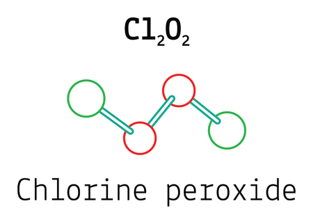 dimer: Cl2O2 chlorine peroxide 3d molecule isolated on white
