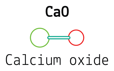 quicklime: CaO calcium oxide 3d molecule isolated on white