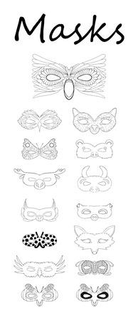 mardi grass: Set of line drawing masks on white Illustration