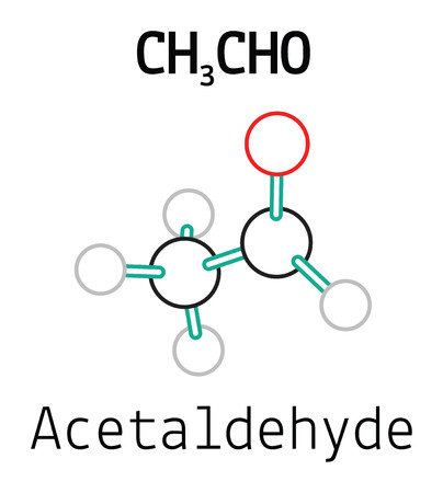 aldehyde: CH3CHO acetaldehyde 3d molecule isolated on white Illustration
