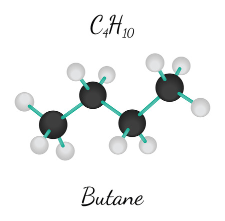 butane: C4H10 butane 3d molecule isolated on white