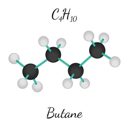 molecula: C4H10 butano 3d molécula aislada en blanco