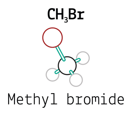 methyl: CH3Br methyl bromide 3d molecule isolated on white Illustration