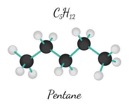 C5H12 pentane 3d molecule isolated on white Illustration