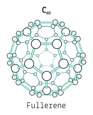 C60 fullerene 3d molecule isolated on white Illustration