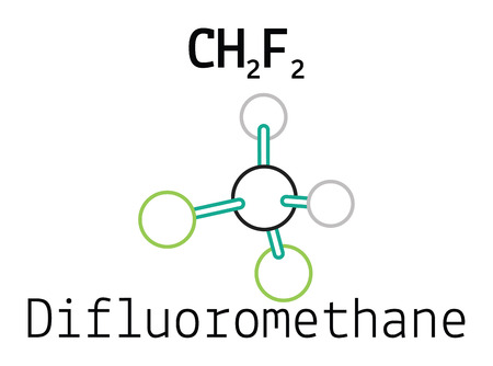 hydride: CH2F2 difluoromethane 3d molecule isolated on white