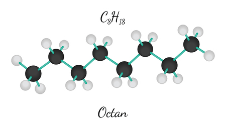 C8H18 octan 3d molecule isolated on white