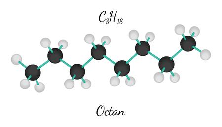 molecule: C8H18 octan 3d molecule isolated on white