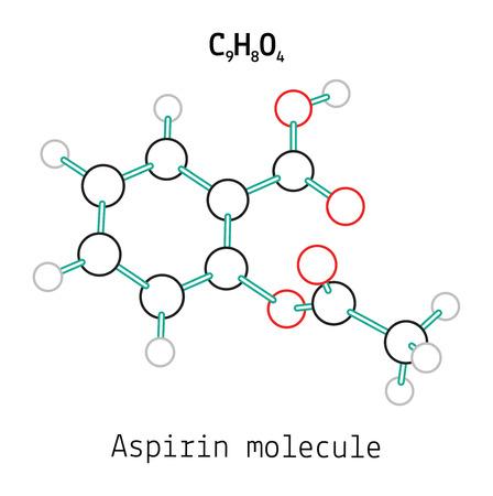 C9H8O4 cząsteczka kwasu acetylosalicylowego 3d samodzielnie na białym tle