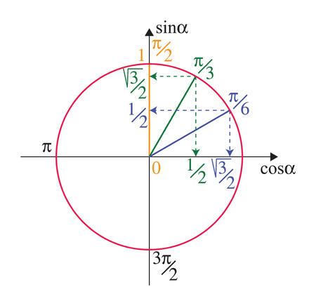 círculo de la unidad trigonométrica con funciones trigonométricas en blanco