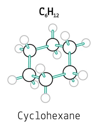 benzene: C6H12 cyclohexane 3d molecule isolated on white Illustration