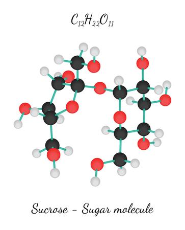 sucrose: C12H22O11 Sucrose 3d Sugar molecule isolated on white